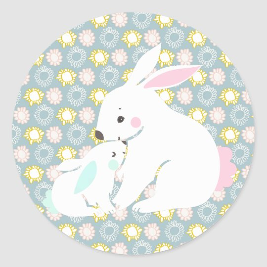 Cute mother & baby boy bunny stickers