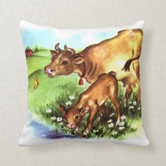 Cute Mother Cow & Baby Calf Vintage Storybook Art Pillows