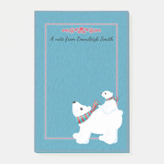 Cute Mother Polar Bear and Baby Christmas Post-it Notes