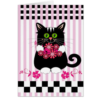 Cute Mother's day card with cat offering flowers