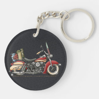 Cute Motorcycle Double-Sided Round Acrylic Keychain