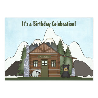 Cute Mountain Cabin with Bear Birthday Invitation