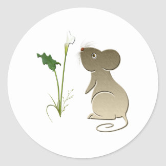 Cute mouse and Calla lily art Round Sticker