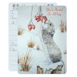 Cute mouse and red berries snow scene wildlife art card