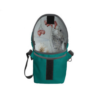 Cute mouse and red berries snow scene wildlife art messenger bag