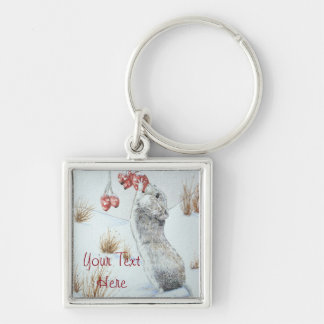 Cute mouse and red berries snow scene wildlife Silver-Colored square keychain