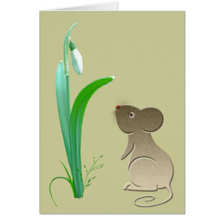 Cute mouse and snow drops art card