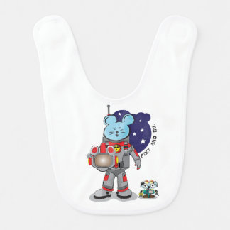 Cute Mouse astronaut with pet robot of Pixy and co Bibs