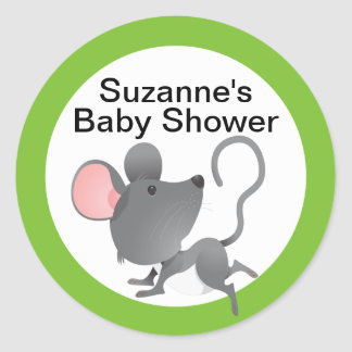 Cute Mouse Baby Shower in Blue Round Sticker