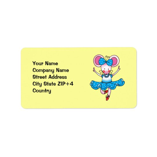 Cute mouse girl ballerina label