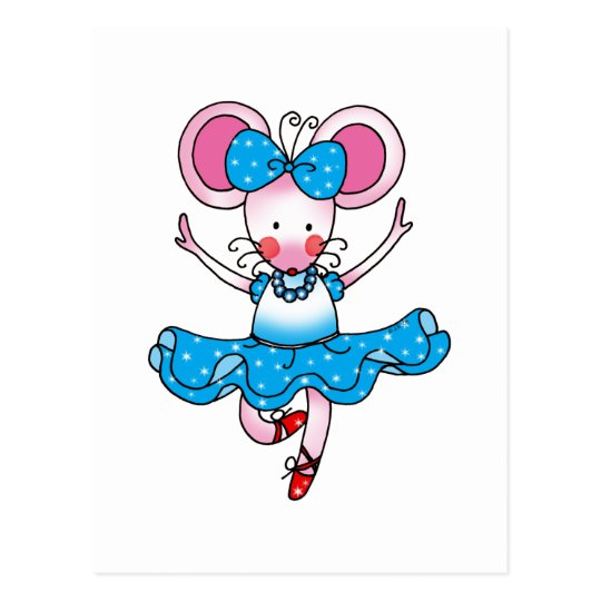 Cute mouse girl ballerina postcard