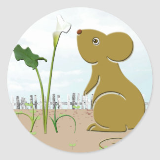 Cute mouse in the garden and calla lily round sticker