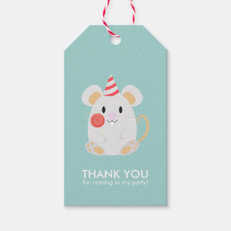 Cute Mouse Kids Birthday Party Pack Of Gift Tags