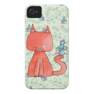 Cute Mouse Loves Kitty Cat iPhone 4 Case