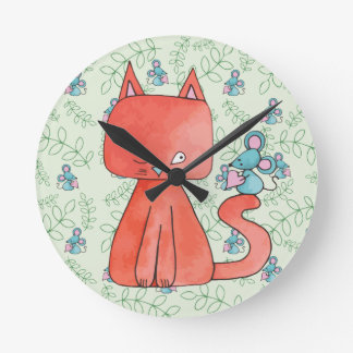 Cute Mouse Loves Kitty Cat Round Wallclock