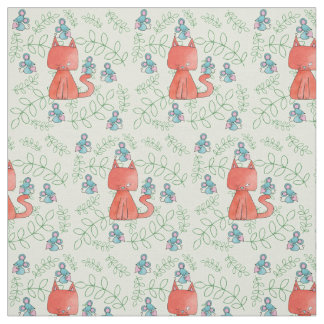 Cute Mouse Loves Kitty Cat Fabric