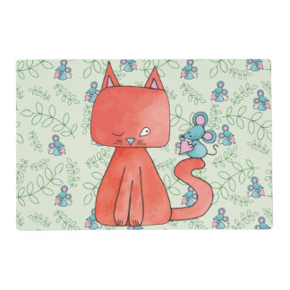 Cute Mouse Loves Kitty Cat Laminated Place Mat