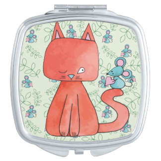 Cute Mouse Loves Kitty Cat Makeup Mirrors