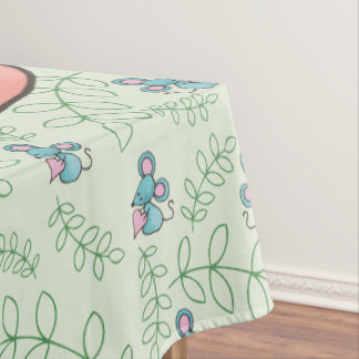 Cute Mouse Loves Kitty Cat Tablecloth