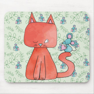 Cute Mouse Loves Kitty Cat Mouse Pad