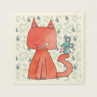 Cute Mouse Loves Kitty Cat Paper Napkin
