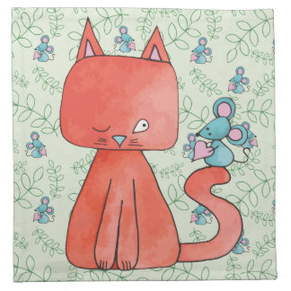 Cute Mouse Loves Kitty Cat Printed Napkins
