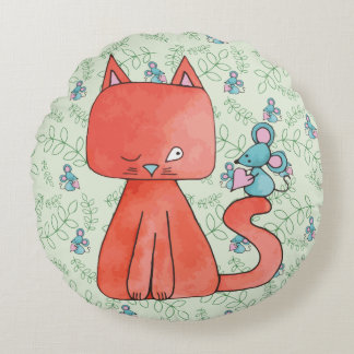 Cute Mouse Loves Kitty Cat Round Pillow