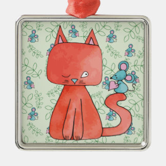 Cute Mouse Loves Kitty Cat Silver-Colored Square Ornament
