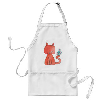 Cute Mouse Loves Kitty Cat Standard Apron