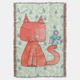 Cute Mouse Loves Kitty Cat Throw Blanket