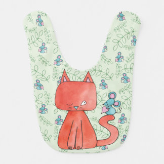 Cute Mouse Loves Kitty Cat Watercolor Bib