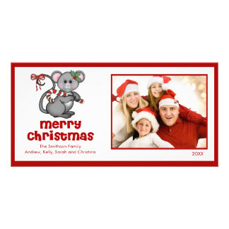 CUTE Mouse Merry Christmas Family Photo Card