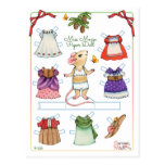Cute Mouse Paper Doll Postcard
