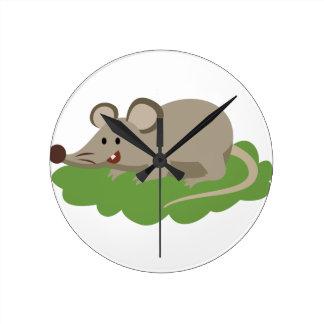cute mouse rat round clock
