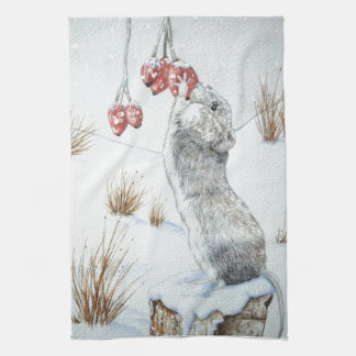 Cute mouse red berries snow scene wildlife art kitchen towel