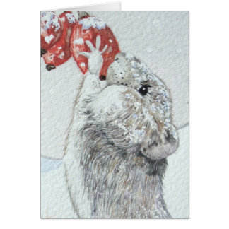 Cute mouse red berries snow scene wildlife card