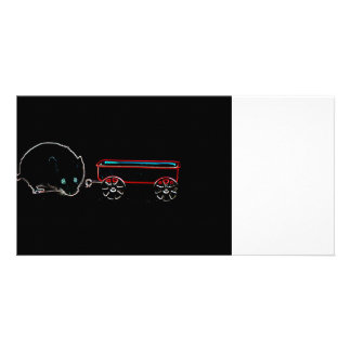 cute mouse w wagon outline animal design customized photo card