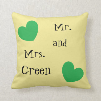 Cute Mr. and Mrs. Green Hearts Reversible Throw Pillow