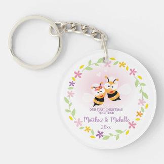 Cute Mr And Mrs Honey Bee First Christmas Keepsake Keychain