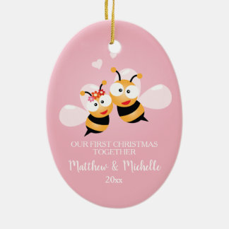 Cute Mr And Mrs Honey Bee First Christmas Together Ceramic Ornament