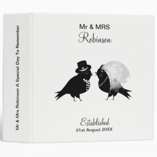 Cute Mr & Mrs Birds Bride And Groom Personalized 3 Ring Binder