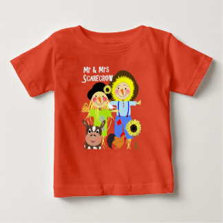 Cute Mr & Mrs Scarecrow Farm Animal Fiends Whimsy Baby T-Shirt