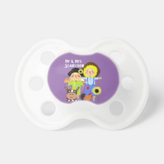 Cute Mr & Mrs Scarecrow Farm Animal Fiends Whimsy Pacifier