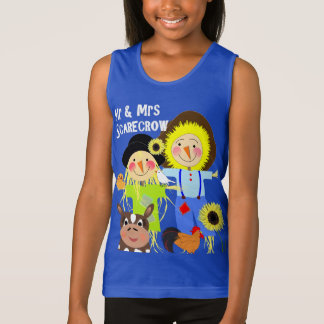 Cute Mr & Mrs Scarecrow Farm Animal Fiends Whimsy Tank Top