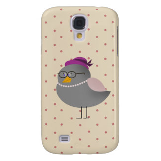 Cute Mrs Bird With Glasses On Dots Pattern