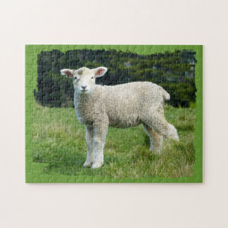 Cute Muddy Lamb in Meadow Ragged Edge Design Puzzle