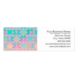 Cute Multicolored Squares Fancy Pattern Business Card Templates
