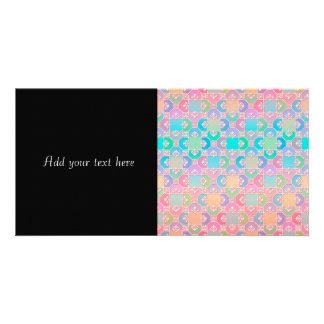 Cute Multicolored Squares Fancy Pattern Custom Photo Card