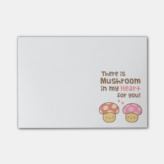 Cute Mushroom in my Heart For You Sweet Pun Post-it Notes