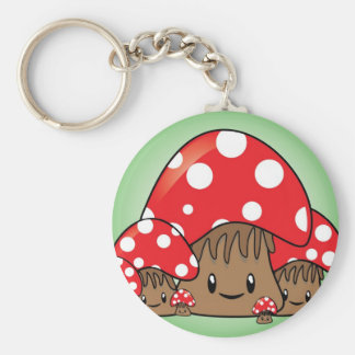 Cute Mushrooms on green background Basic Round Button Keychain
